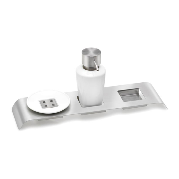 LIQUO Triple Free standing Holder with Soap Dish and Soap Dispenser